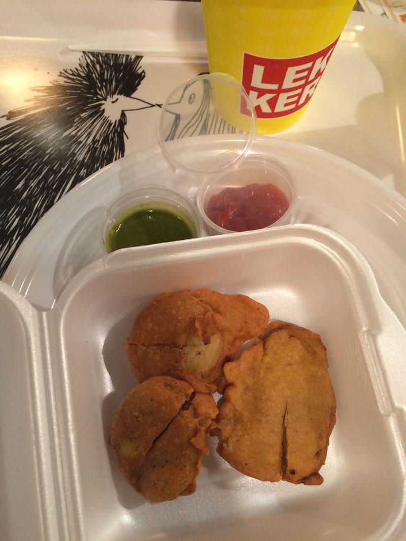Het bijgerecht dat bestond uit een soort nuggets gevuld met aardappel. Heel lekker!