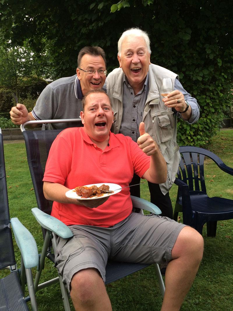 Mijn jongste broer Paul, mijn vader en mijn zwager Henk vonden het top allemaal!