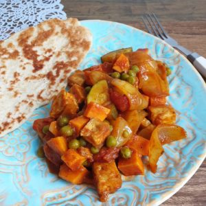 Curry met tofu en naan