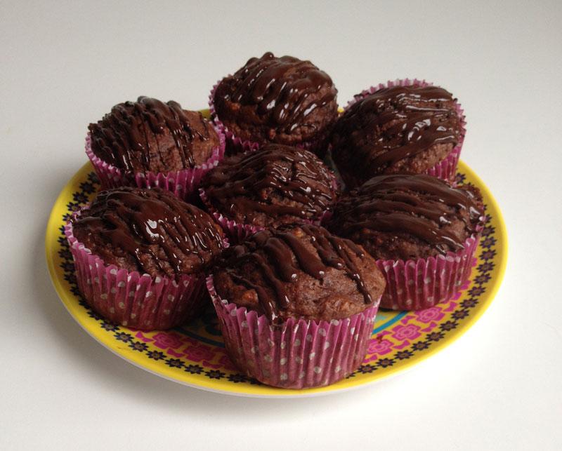 Double fudge bananen muffins