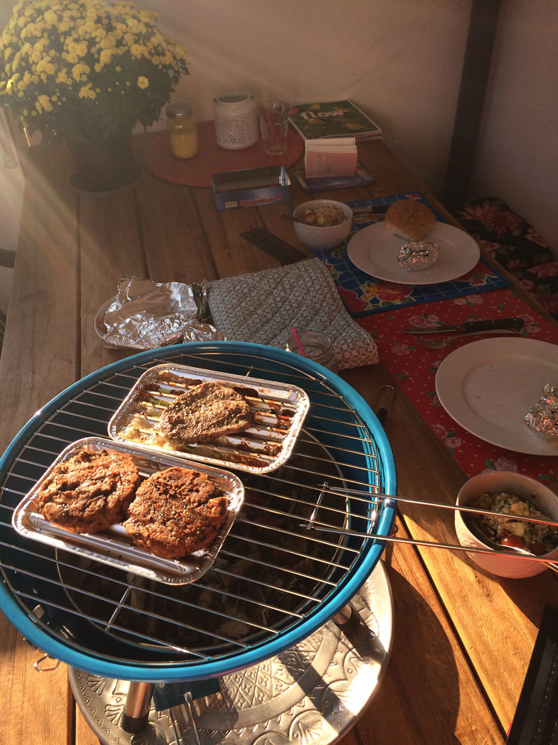 Veggie burgers op de barbecue