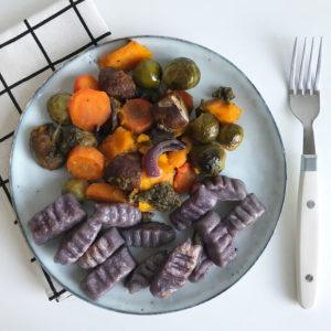 Herfstgroenten uit de oven met paarse gnocchi