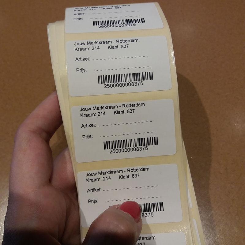 De stickers met persoonlijke barcode
