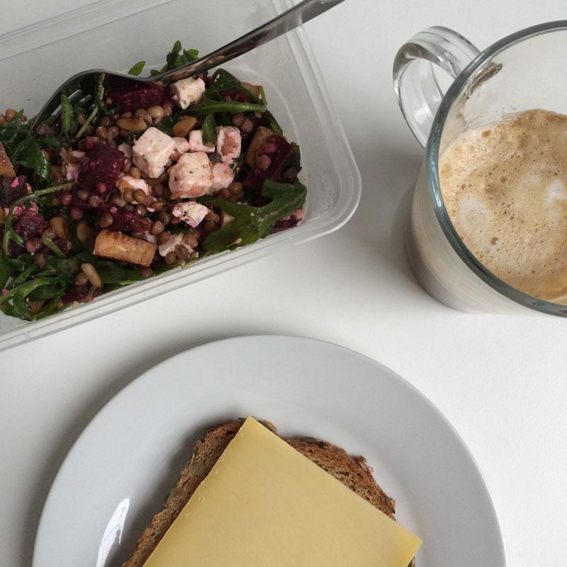 Linzensalade met bieten en tofu