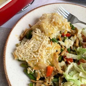 Ovenschotel met vegan shoarma en rösti