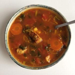 Quinoa soep met tempeh