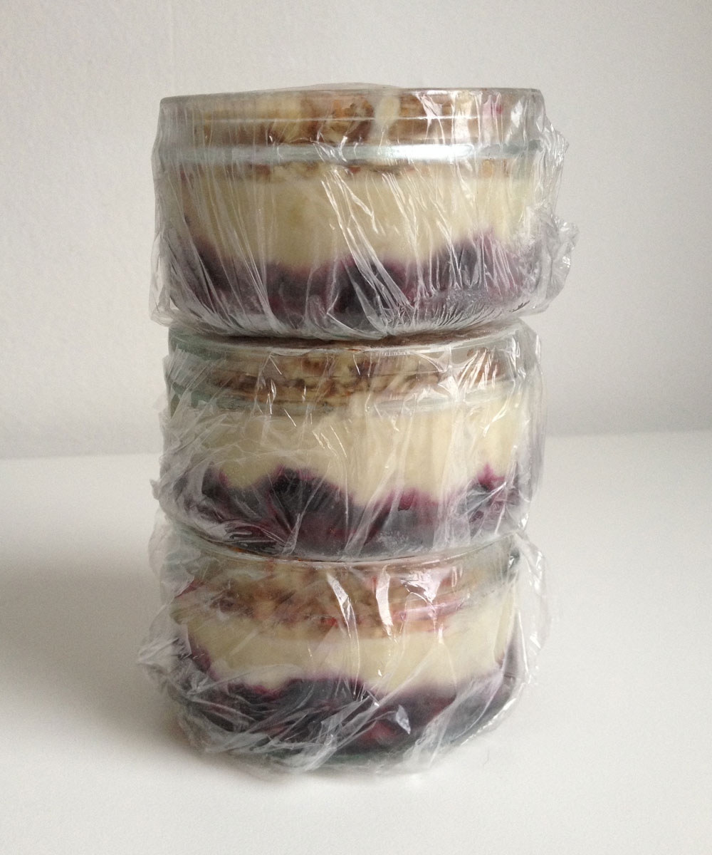 Raw vegan blauwe bessen cheesecake