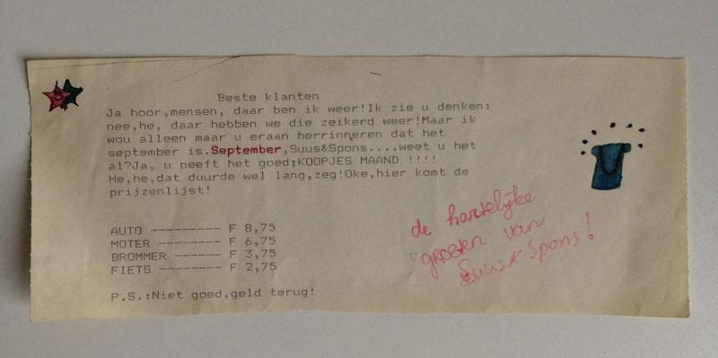 KOOPJES MAAND!!!! bij Suus & Spons. Ja ja, those were the days. Toen er nog geen internet of euro bestond maar je tekende met potloden en je je prijzenlijst in Hollandse guldens samenstelde.