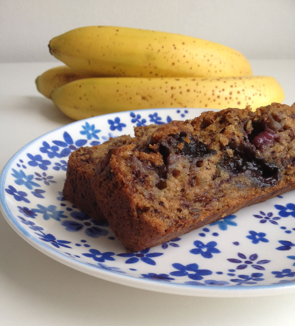 Vegan bananenbrood met blauwe bessen