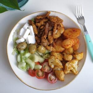 Vegan shoarma bowl met tahin