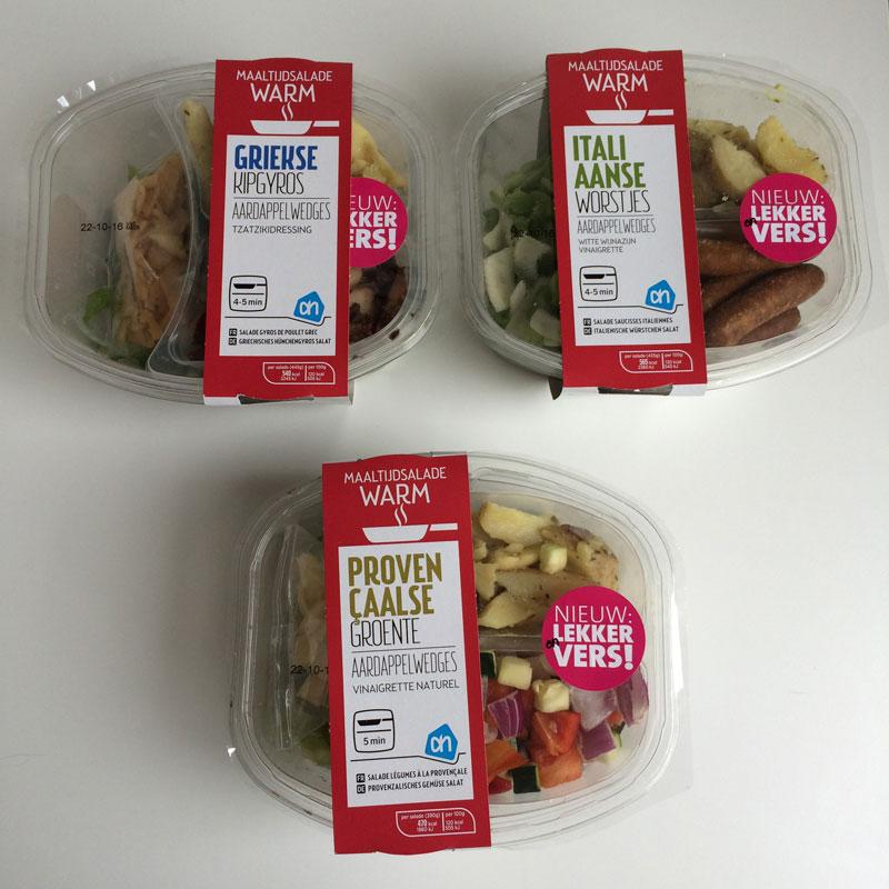 De 3 varianten van de nieuwe Warme Maaltijdsalades van Albert Heijn