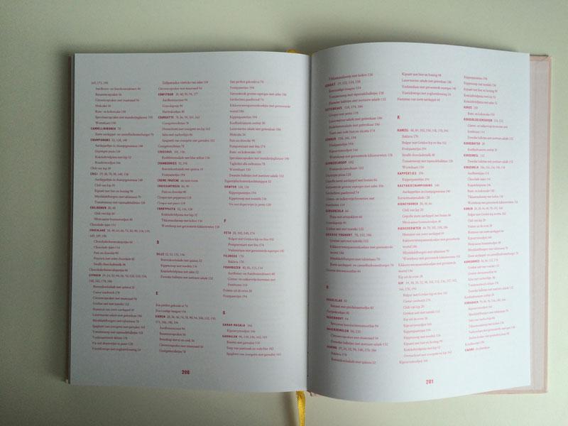 Overzichtelijke inhoudsopgave van alle recepten in het boek