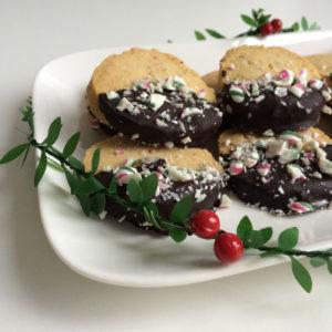 Zandkoekjes met chocolade en pepermunt